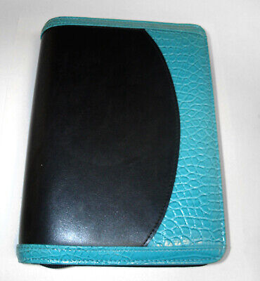 Franklin Covey 365 Black Faux Leather With Aqua Croc Compact Planner Binder
