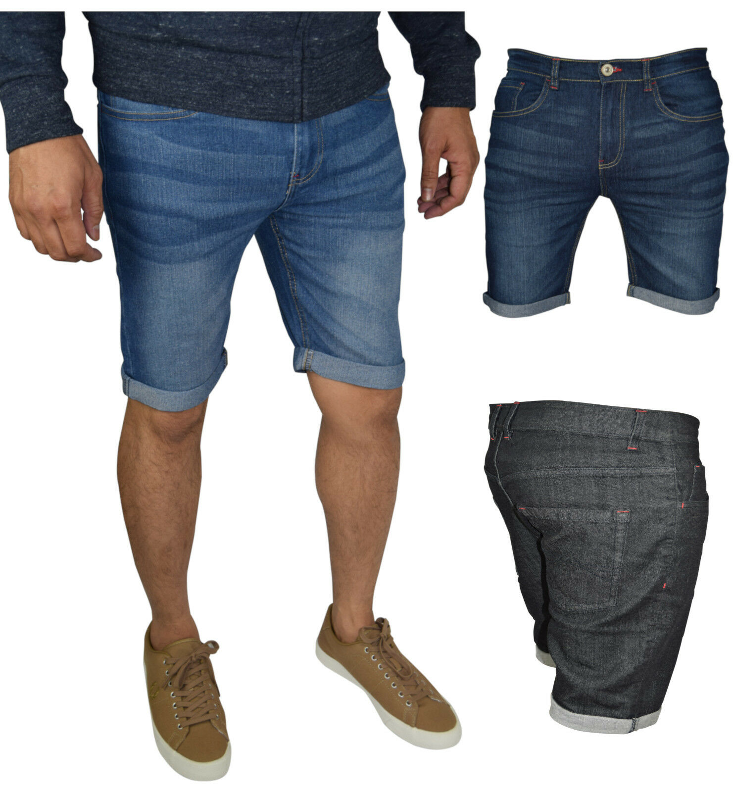 Men's Slim Fit Stretch Denim Shorts Jeans Flat Front Half Pants Clothing, Shoes & Accessories