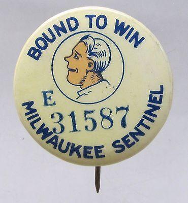 1930's BOUND TO WIN Milwaukee Sentinel comic strip pinback button