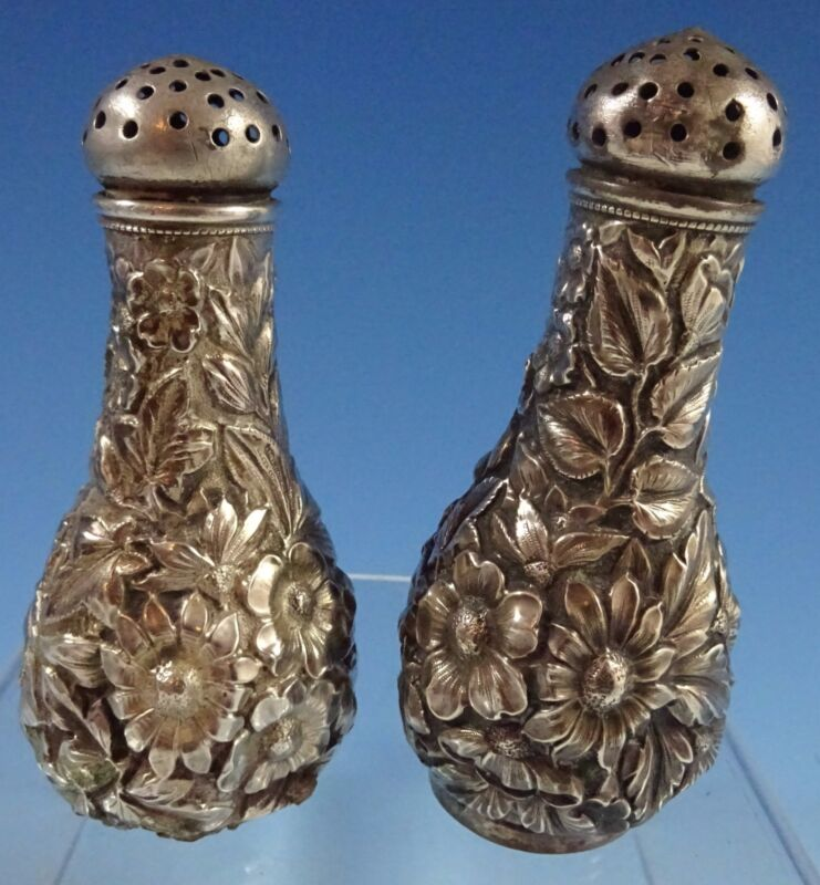 Repousse by Unknown Sterling Silver Salt & Pepper Shakers 2pc (#1178)