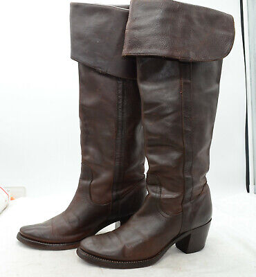 FRYE Jane Tall Cuff Womens Sz 8 High Heel Over the Knee Leather Riding Boots Jane Tall Cuff