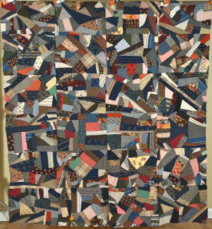Vibrant Antique Crazy Quilt Top ~Vintage Fabrics 1880-1930, Mint Condition!