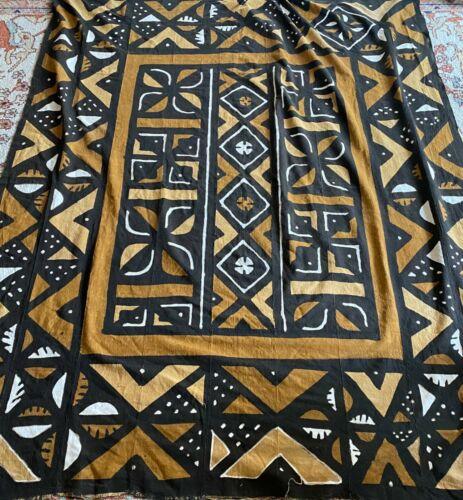 Vintage African Mud Cloth Textile Bambara Geometric Print Brown Fabric Art