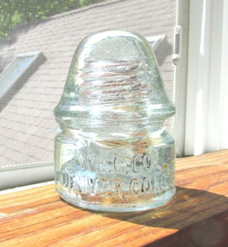 GREAT ICE AQUA CD 134 W.F.G.CO DENVER COLO GLASS INSULATOR (2)