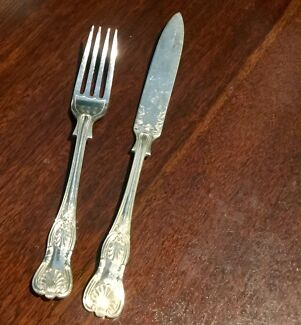 Cutlery set for six,  Vintage Fish Service, silver plate, boxed
