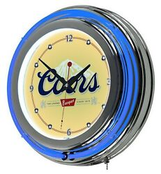 14 Retro Neon Light Wall Clock Coors Beer Banquet Bar Game Room Lamp
