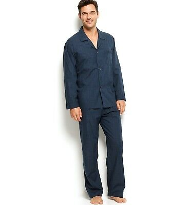 $106 CLUB ROOM Mens PAJAMA SET SHIRT PANTS Woven Blue Plaid LOUNGE SLEEPWEAR L