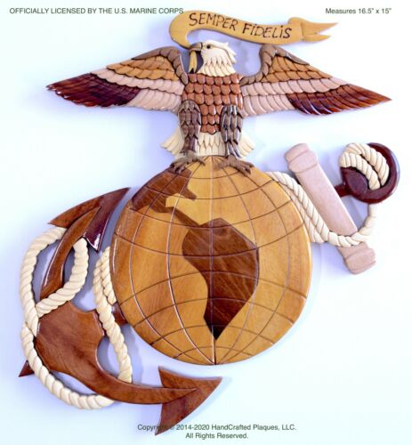 MARINE CORPS EAGLE GLOBE & ANCHOR   Handcrafted Wood Art Plaque