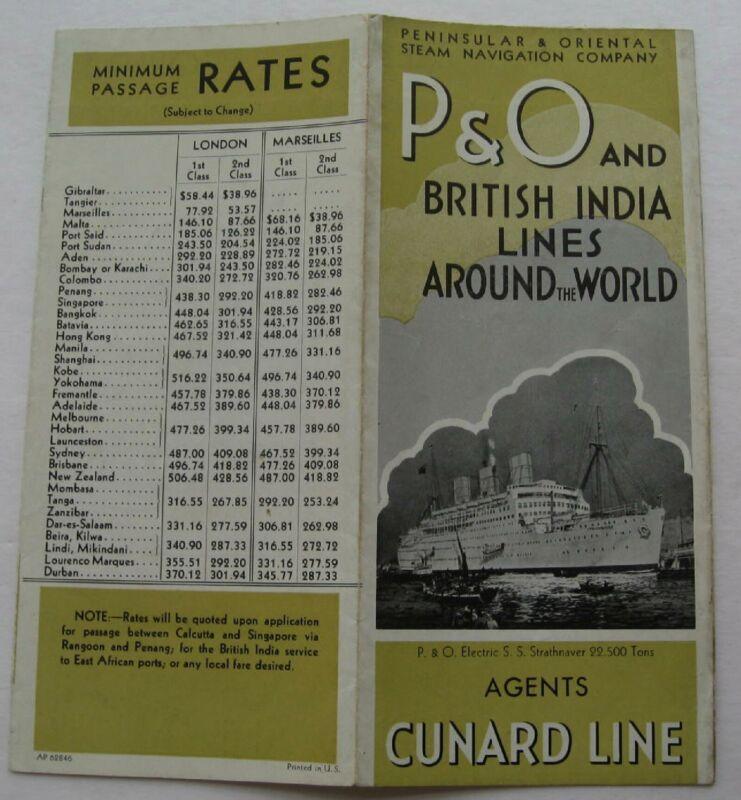 Vintage Brochure For Peninslar & Oriental Steam Navigation Co. 1946