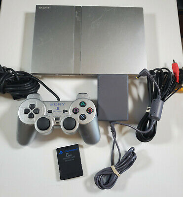 SONY PLAYSTATION 2 PS2 SILVER SLIM SCPH-79001; TESTED; Controller Memory Card