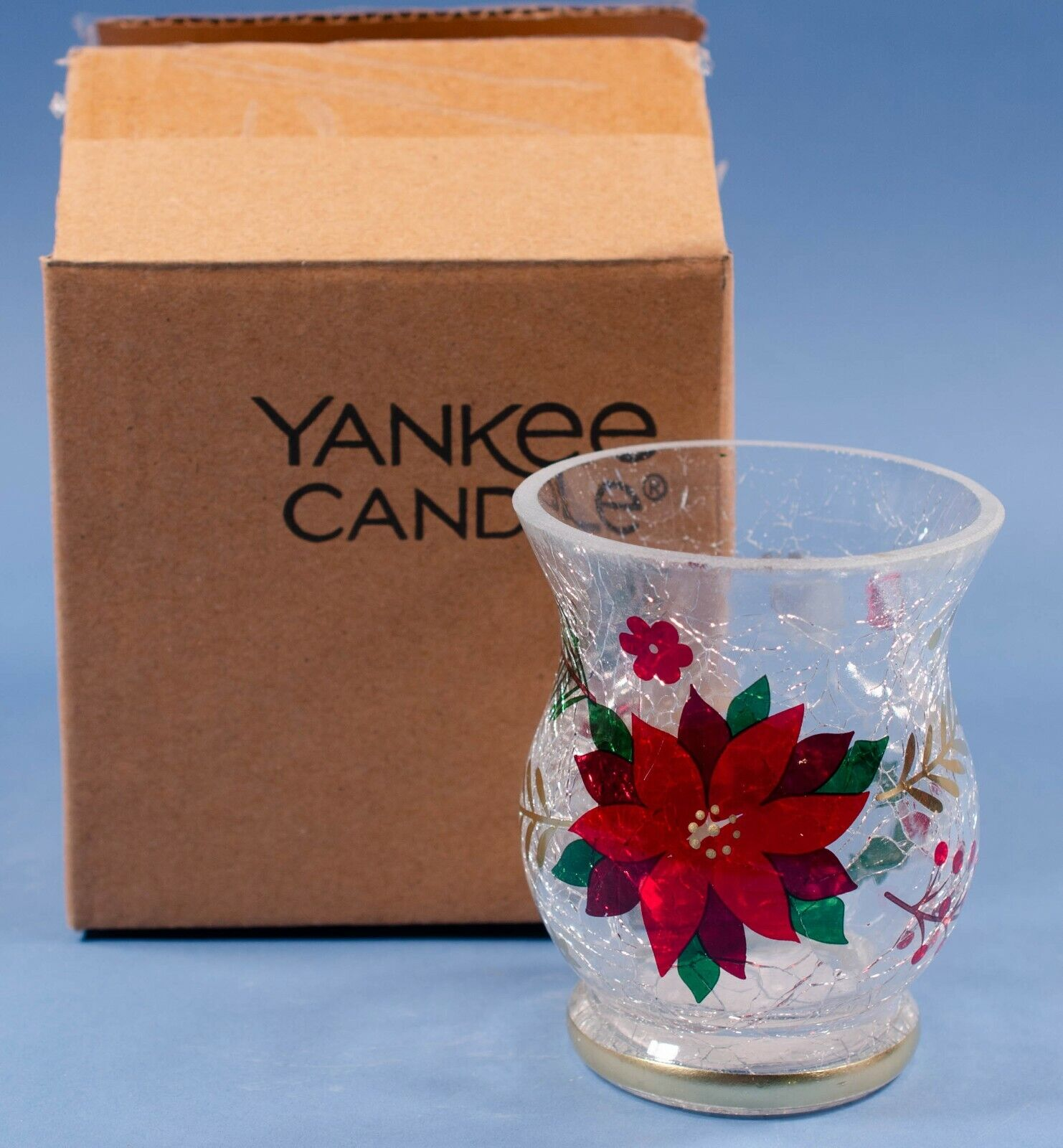 Yankee Candle Crackle Glass Poinsettia Votive Holder 1680322 NIB - $15.75