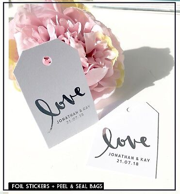 Love tags Personalised Foil wedding tags, labels Rose Gold  & Silver