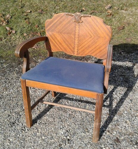 Vintage Art Deco Waterfall Vanity Bench Chair