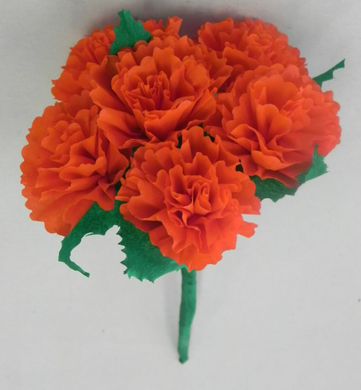 Orange Mexican Crepe Paper Flowers Bouquet Of 6 Crafts Party By
