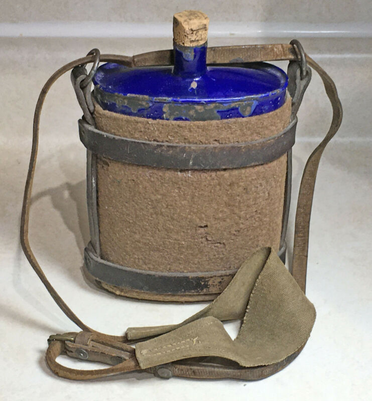 WW1 Canadian/British Enameled Canteen With Leather Harness 1916