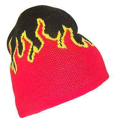 Black Red Yellow Fire Flame Design 8 In Short Knit Ski Beanie Cap Caps Hat Hats (Black Flame Knit Beanie)