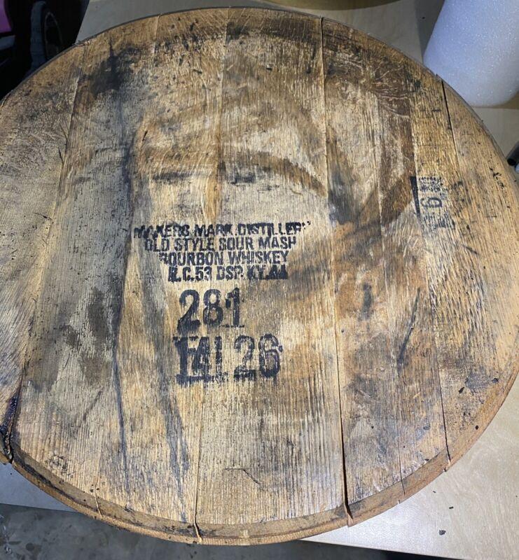 Makers Mark Bourbon Barrel Head/Top/Lid/End Oak, AUTHENTIC distillery stamp