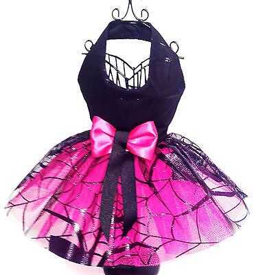 Black Spider with pink Net Halloween Fancy Dress Dog Costume for Small Breed Dog - Dog Spider Costumes For Halloween