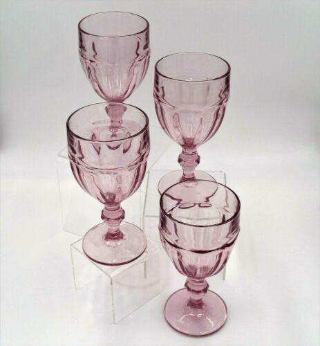 "Vintage Libbey Gibraltar DURATUFF 6.75"" Pink Water/Ice Tea Goblets Glasses (4)"