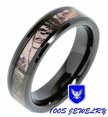 - 6MM Womens Tungsten Carbide Ring Real Oak Camouflage Black Plated Wedding Band