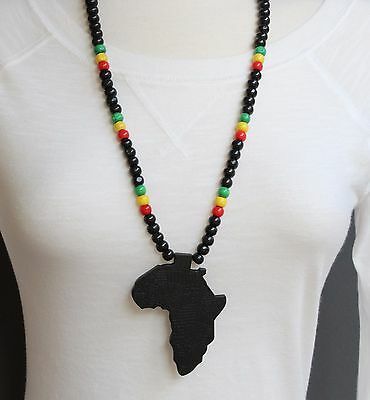 Black wooden africa pendant necklace beads chain african map continent wood long Long Black Beaded Necklace