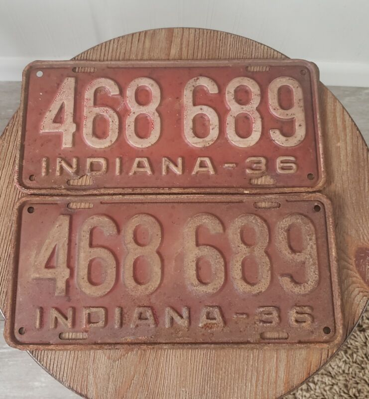 Vintage Matching 1936 Indiana License Plates Lot Of 2