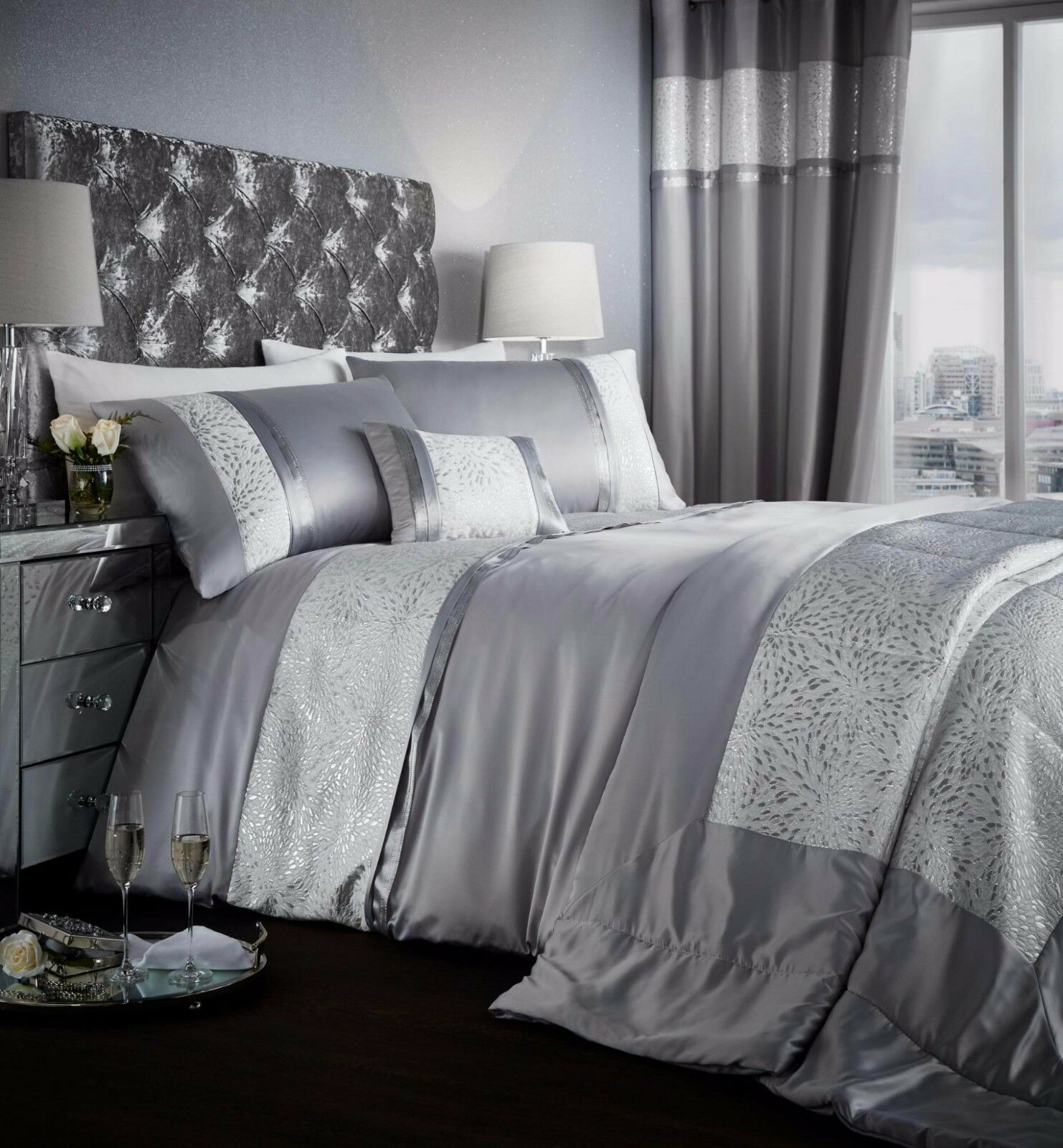 Hide A Bed Sheets: Catherine Lansfield Luxor Jacquard Duvet Cover Bedding Set