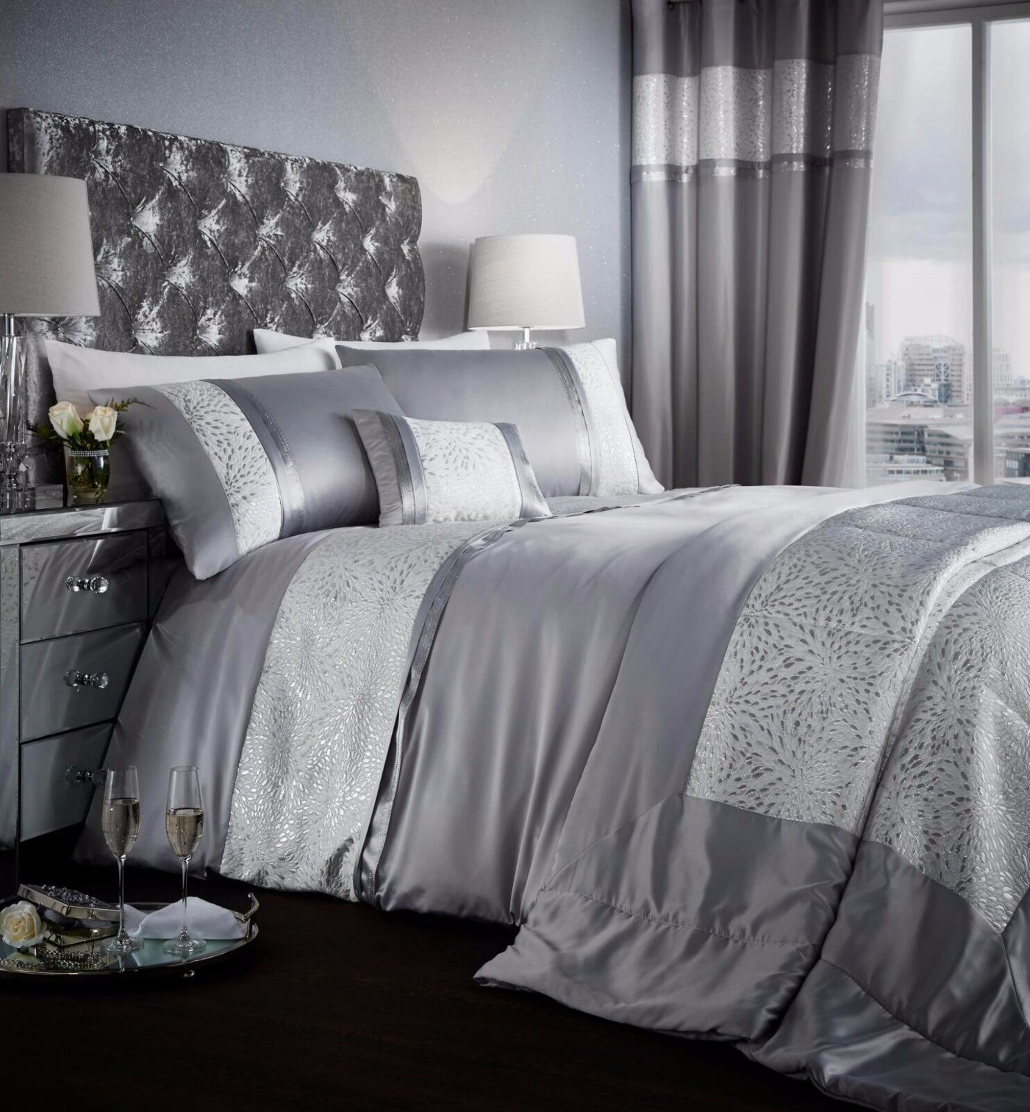 catherine lansfield luxor jacquard duvet cover bedding set. Black Bedroom Furniture Sets. Home Design Ideas