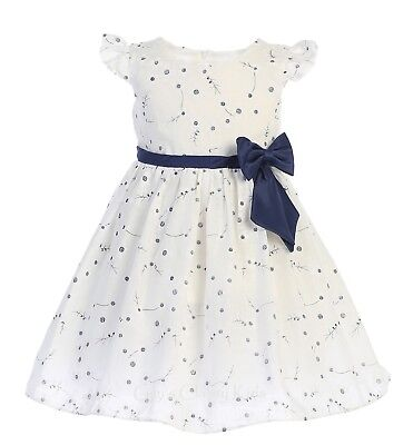 Navy Blue And White Wedding (White Navy Blue Flower Girls Cotton Print Dress Baby Kids Wedding Easter)