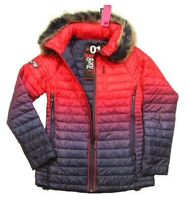 Superdry Sport Women's Ink/Red Power Fade Faux Fur Tow Away Hooded Jacket
