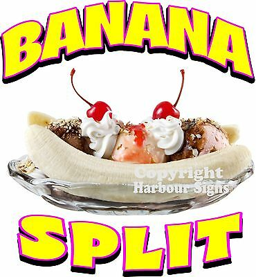 Banana Split Decal 10 Ice Cream Soft Serve Concession Food Truck Cart Stand