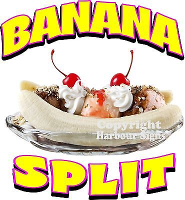Banana Split Decal 14 Ice Cream Soft Serve Concession Food Truck Cart Stand