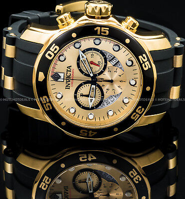 Invicta 48mm Men's Pro Diver Scuba Chronograph 18K Gold Plated IP SS PU Watch ! -