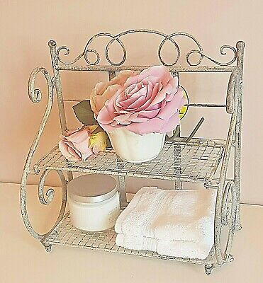 Shabby Chic French Vintage Grey Shelf Unit Storage Display Bathroom Cabinet Rack na sprzedaż  Wysyłka do Poland
