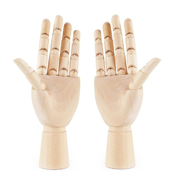 Wooden Hands Left & Right Model Wood Hands Jointed Moveable Fingers (20cm/30cm)