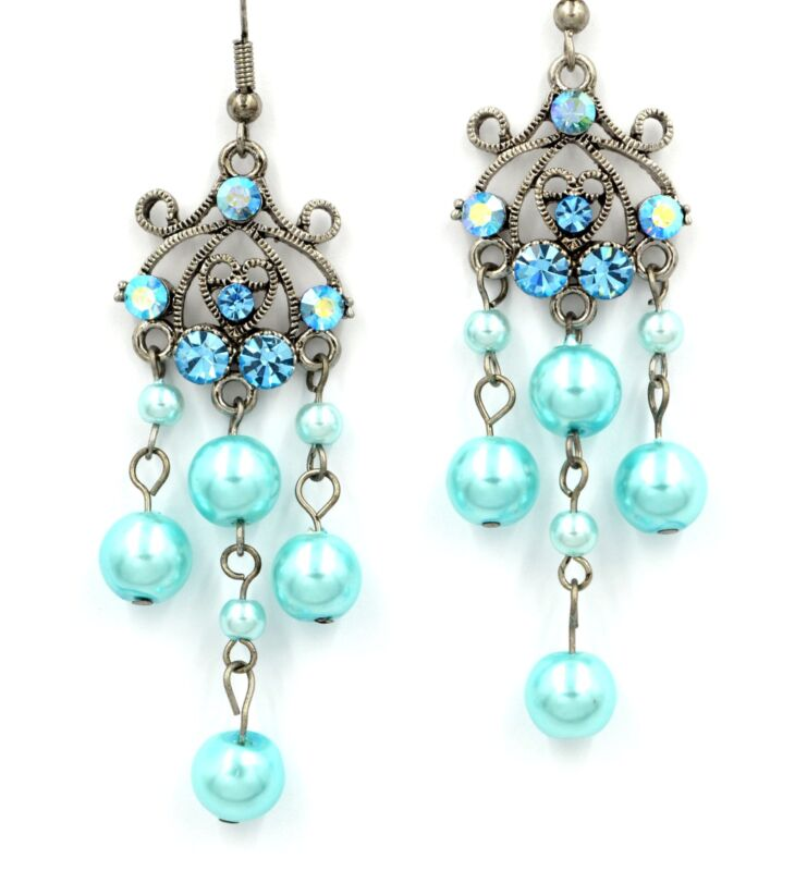 Beautiful new aquamarine crystal pearl chandelier dangle earrings party gift