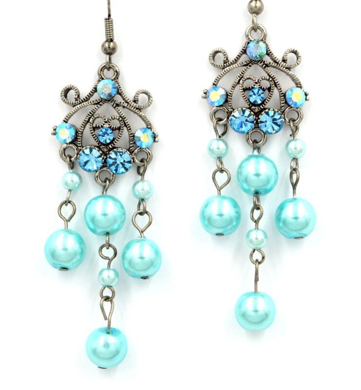 Swarovski Elements Crystal Aquamarine Blue Pearl Chandelier Dangle Earrings Gift