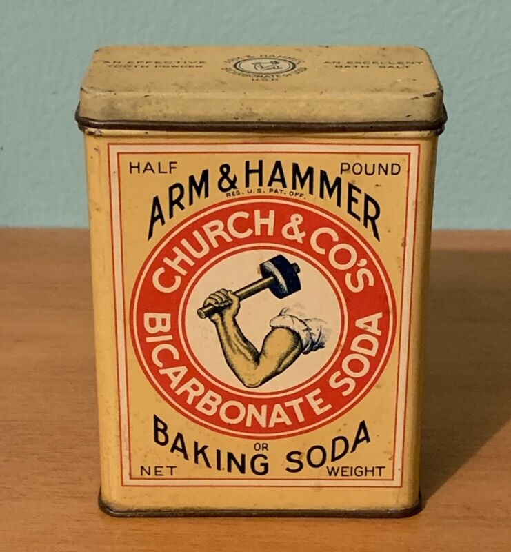 Old Antique Arm And Hammer Baking Soda Advertising Tin