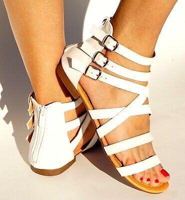 Womens Open Toe Cross Straps Side three Buckle Flat Sandals Flip Flops Gladiator Buckle Open Toe Sandal