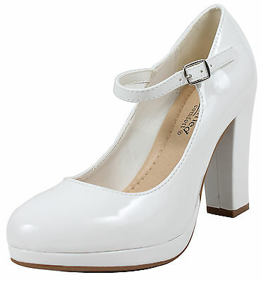City Classified Womens Closed Toe Mary Jane Chunky Heel Pump