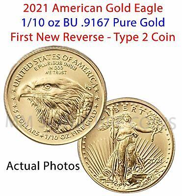 2021 American Gold Eagle 1/10 oz $5 BU Coin Type 2 Bullion IN HAND FREE SHIPPING