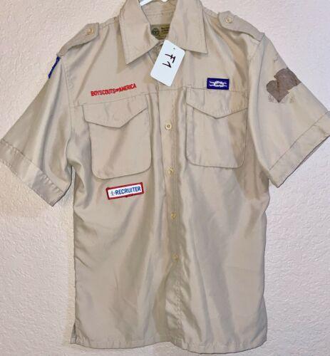 BSA Khaki Youth Short Sleeve Shirt Size Large Used 1_F1