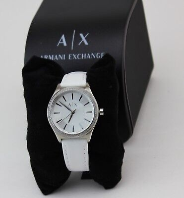 NEW AUTHENTIC ARMANI EXCHANGE WHITE LEATHER SILVER WOMEN'S AX5445 WATCH