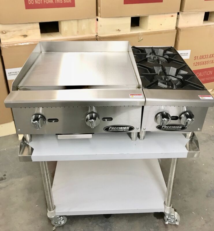 "New 24"" Flat Griddle Grill 2 Burner Range Hot Plate W Table Package Restaurant"