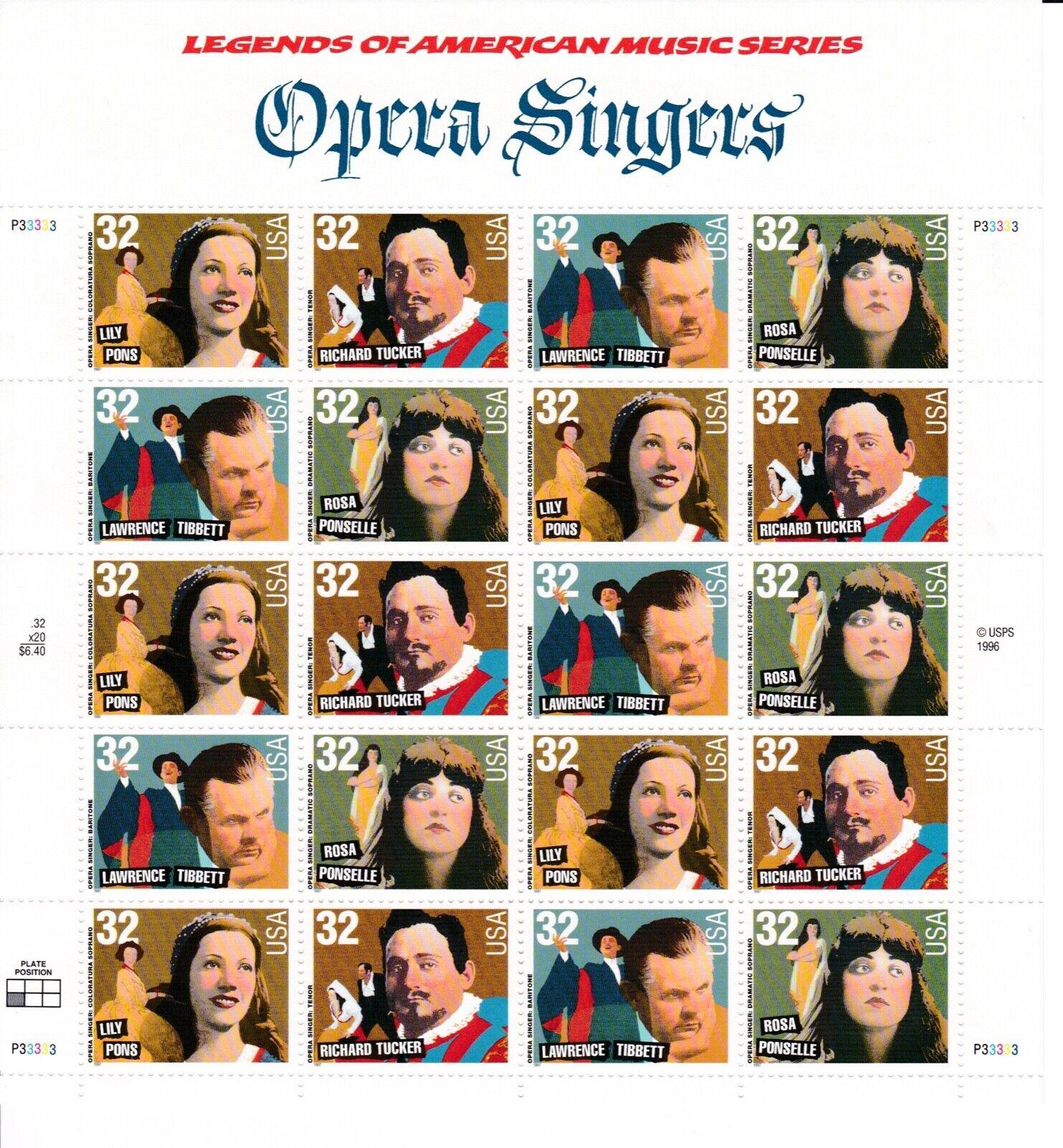 Scott 3154-3157 - US Sheet Of 20 - OPERA SINGERS - MNH - 1997 - $9.00