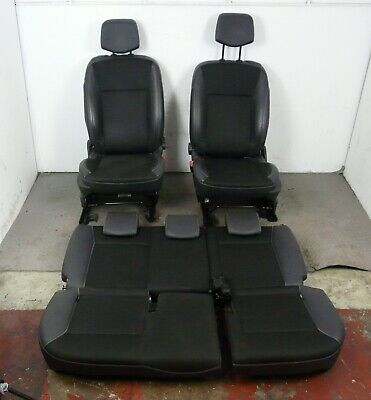 RENAULT CLIO MK3 3DR FRONT AND REAR HALF LEATHER SEATS SET BLACK 2006-2012