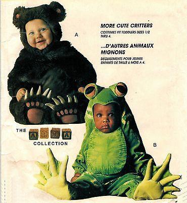 Toddlers Bear Frog Jumpsuit Hood Halloween  Costume Sew Pattern 2-4