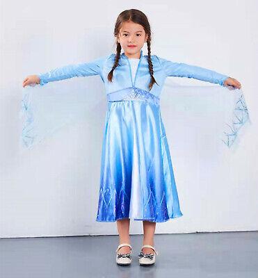Girl Cartoon Character (Princess Elsa Queen Kids Girls Fancy Dress Costume Cosplay Birthday New)