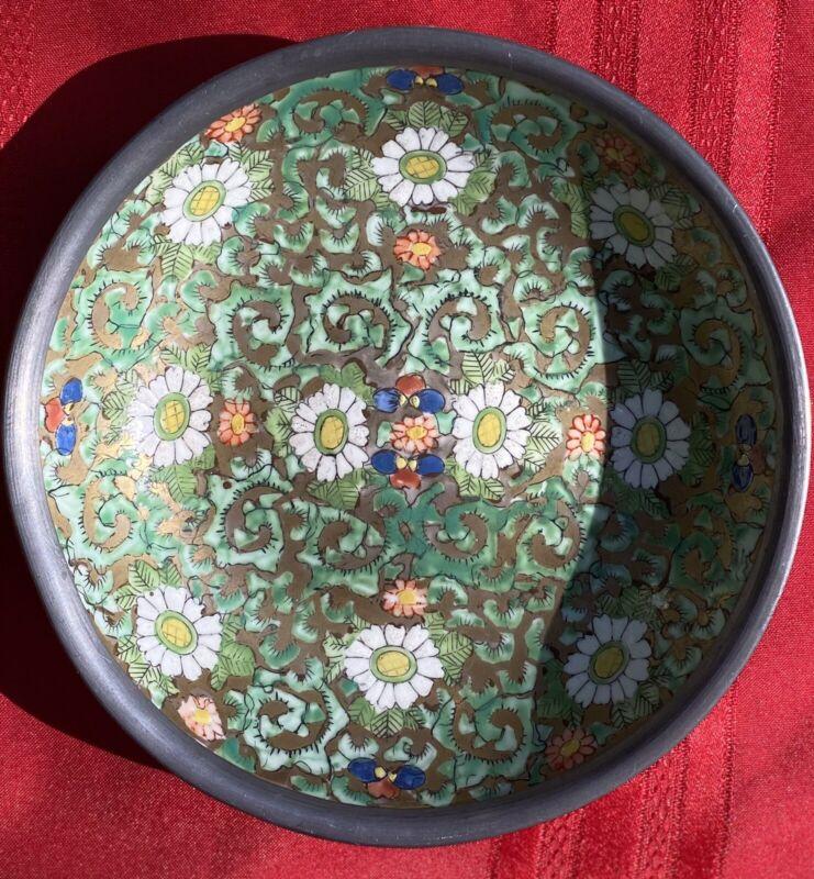 Vintage Japanese Ceramic Dish w/Pewter Casing, Hand Painted In Hong Kong ACF
