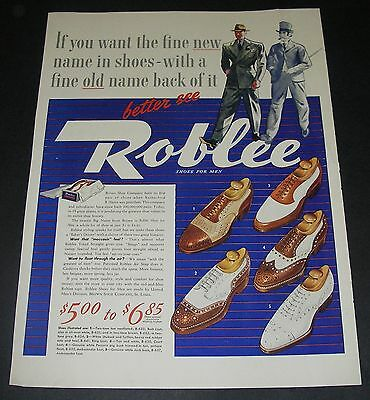 Print Ad 1940 FOOTWEAR Men's Roblee Shoes ART 5 Style Fashion Gentlemen Walking